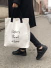 Dark Cotton Canvas Tote'' I Left My Chanel At Home'' thumbnail
