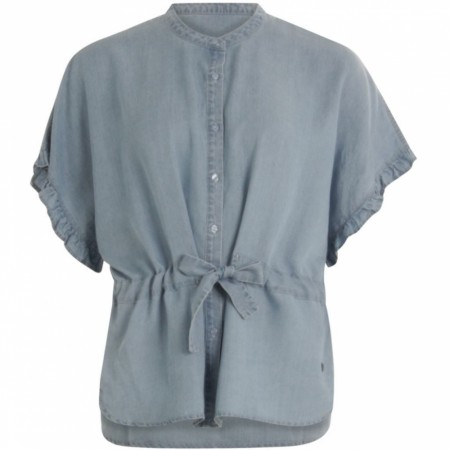 Costercopenhagen Top In Denim Tencel W.ruffles