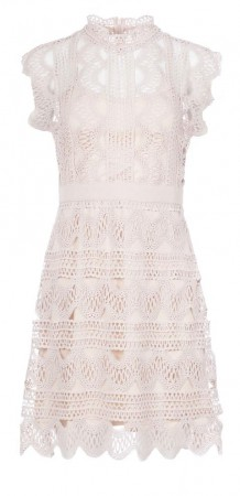 Dry Lake Ira Dress Pink Crochet Lace
