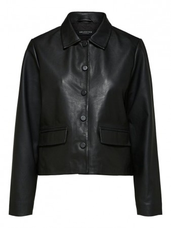 Selected Femme Slflovi Ls Short Leather Jacket
