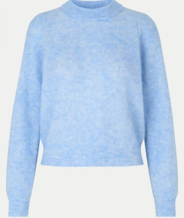 Second Female Brooky Knit Puff O-neck - Blue